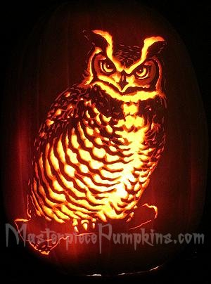 Owl Pumkin Carving Ideas - Pumpkin Patterns, Scary Pumpkin